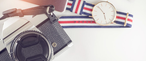 outfits of traveler accessories with flat lay view  and copy spa