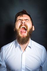 man shouts and angry