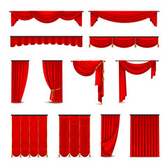 Luxury Red Curtains Draperies Realistic Set