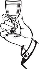 Hand holding glass of vodka shot.