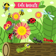 Cute Insects Animal cartoon in the garden. Bee. Ant. Ladybird. Ladybug. Butterfly. Grasshopper. Dragonfly. Queen Bee. Vector illustration. Set 2.