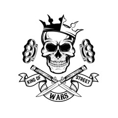 King of street wars. Skull in crown with banner and two crossed knives. Design element for poster, emblem, t-shirt print. Vector illustration.
