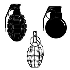 Set of hand grenades isolated on white background. Design elements in vector.