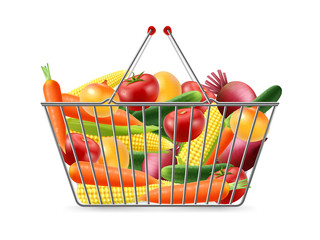 Shopping Basket Full Vegreables Realistic Image