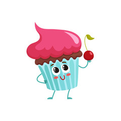 Funny cupcake character with pink cream topping, cartoon style vector illustration isolated on white background. Cute smiley cupcake character with eyes and legs holding a cherry