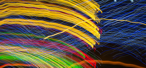 Abstract background made of Christmas lights with long exposure.