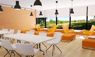 Seating in modern restaurant interior, 3D rendering