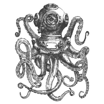 Vintage style diver helmet with octopus tentacles isolated on white background. Design element for poster, t-shirt print. Vector illustration.