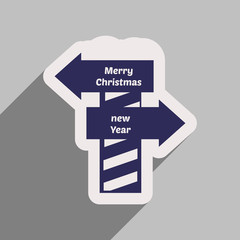 flat icon with long shadow Pointer Christmas and New Year