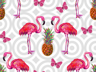 Summer jungle pattern with tropical butterflies, flamingo and pineapple vector background. Beautiful exotic pattern. Perfect for wallpaper, pattern fill, web page background, surface textures, textile