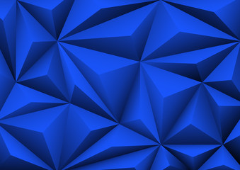 Abstract geometric blue background. Folded paper in shape triangle.
