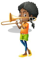 Little girl playing trumbone