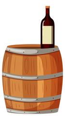 Wooden berrel and red wine