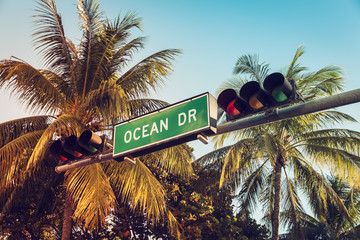 Ocean Drive street sign with palm trees, Miami
