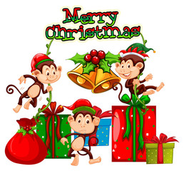 Christmas theme with monkeys and presents