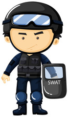 SWAT in protection uniform