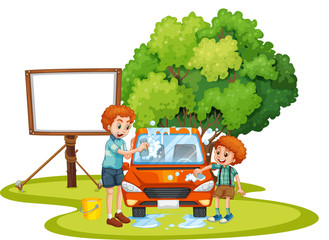 Dad and son washing car on the lawn