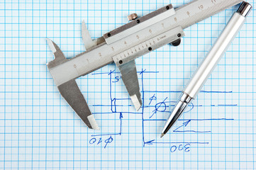 Technical drawing and callipers with  pen