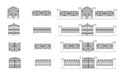 Blueprint of fence - architectural details, vector