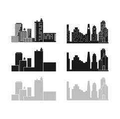Skyline City Building Sets Vector, Commercial Industrial
