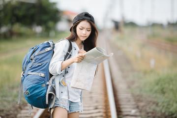 Beautiful Asia woman traveler,travel concept
