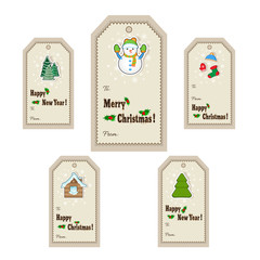 Christmas gift tags and labels. Vector illustration. Template for greeting, congratulations, invitations design
