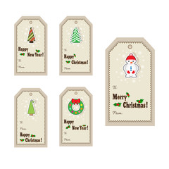 Set of Christmas and New Year gift tags. Cute Christmas labels. Vector illustration