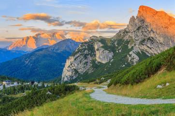 Morning view to Dolomites mountains