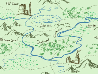 Aged fantasy vintage seamless map with mountains, buildings, trees, hills, river. Hand drawn fairytale historic treasure map. Seamless background, vector.