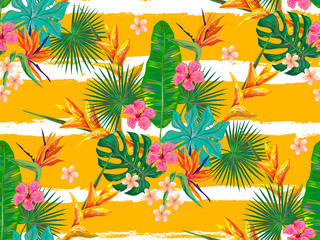 Summer jungle pattern with exotic flowers and palm leaves hand drawn background. Perfect for wallpapers, pattern fills, web page backgrounds, surface textures, textile. Vector illustration