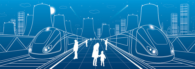 Railway station, people waiting for the trains, thermal power plant, industrial and transport illustration, night city, white lines ob blue background, vector design art