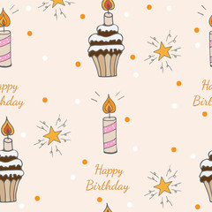 Happy Birthday seamless pattern with cake with candle and star