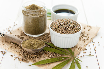 hemp seeds, aiol and flour