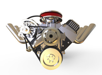 Hot rod V8 Engine 3D render