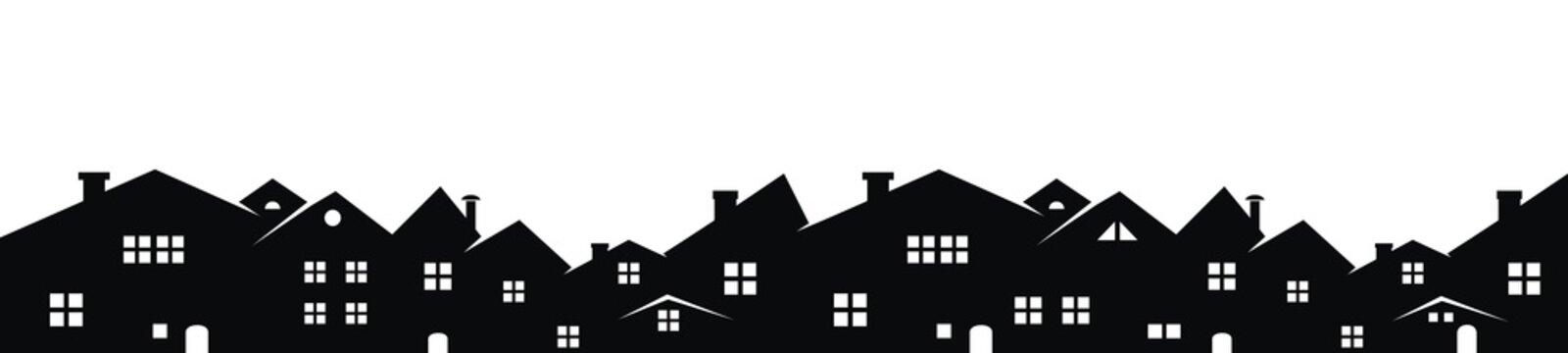 Cityscape, vector background, black silhouette