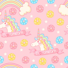 Magic pattern with unicorn, donuts, rainbow on a pink background.