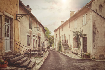 Keuken foto achterwand Oud Ziekenhuis Beelitz Old street in France. Vintage style photo