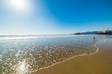 Baby girl playing in Santa Monica beach