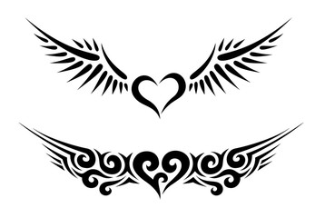 Two Hearts with Wings Tribal Tattoo
