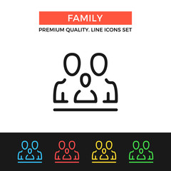 Vector family icon. Thin line icon