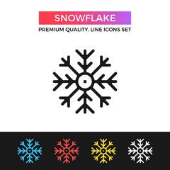 Vector snowflake icon. Thin line icon