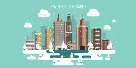 Vector illustration. Winter urban landscape. City with snow. Christmas and new year. Cityscape. Buildings.