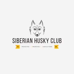 Vector image of a dog siberian husky design on white background and yellow background, Logo, Symbol, Animals