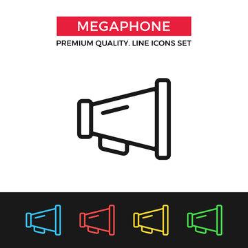 Vector megaphone icon. Thin line icon