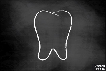 Tooth on the chalkboard. Dentistry. For your design.