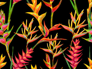 Summer jungle pattern with tropical flowers heliconia or lobster-claw vector background. Perfect for wallpapers, pattern fills, web page backgrounds, surface textures, textile