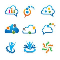 set of vector logo Talk Discussion , education, cloud