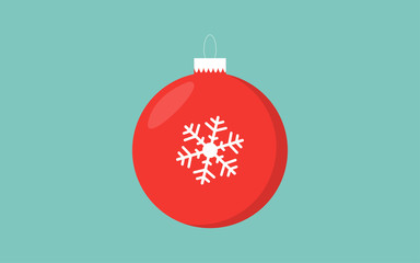 Red christmas ball retro color blue background with snowflake