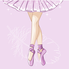 Beautiful ballerina in classical tutu. Slender legs in ballet slippers, pointe shoes. Hand drawn illustration.