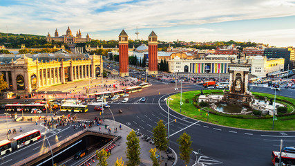 Barcelona, Spain. Spanish Square aerial view during the day